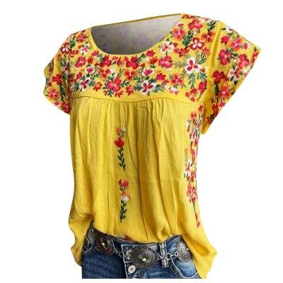 40# Summer Boho Blouse Womens Casual Floral Print Loose O-neck Short Sleeve Tanic Shirt Blouse Tops Summer Casual Tops Tee