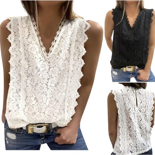 45# Summer Lace T Shirt Women Fashion Sexy Sleeveless Solid Shirt Hollow Party V-Neck Shirt Plus Size Hot Top 2021 Camisetas