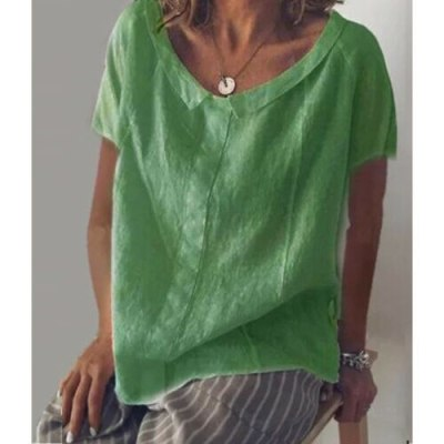 Women Solid Brief Pink Summer Daily Wear Female Casual O-Neck Solid Color Tee T-Shirt Loose Tunic Top Short Sleeve