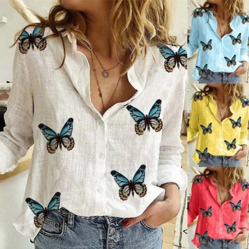 Butterfly Print Cotton Linen Women'S Blouses Autumn Long Sleeve Blouse Shirts Ladies Fashion Sexy V-Neck Plus Size Top