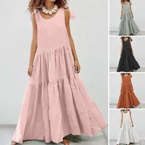 2021 Elegant Sleeveless Summer Dress Women's Tank Sundress Casual O Neck Solid Maxi Vestidos Female Linen Robe Femme 5XL