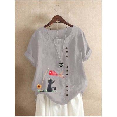 Women Blouses 2021 Summer O-Neck Vintage Blouse Animal Print Casual Short Sleeve Women'S Flax Shirt Plus Size Top