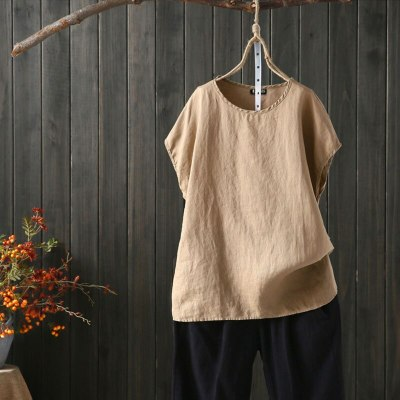 5XL large size linen blouse shirt fashion women tops and blouses summer elegant O-Neck short sleeve women's blouses