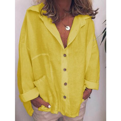 DIOROBBEN Autumn Long Sleeve Cotton Linen Shirts Plus Size Fashion Vintage Shirts Casual tops turn-down collar women's blouses
