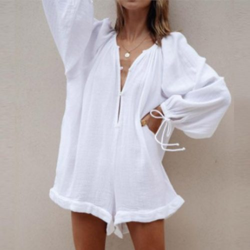 Sexy V Neck Heart Print Playsuit Rompers Elegant Women Loose Cargo Pants Overalls Bodysuit Casual Lantern Sleeve Beach Jumpsuits