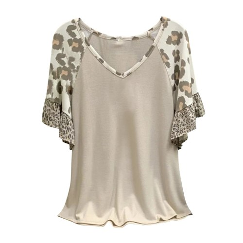 Fashion Ruffle Leopard Blouse Shirt Loose V-Neck Tops Tee Summer Casual Ladies Tops Female Women Short Sleeve Blusas Pullover