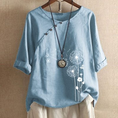 Autumn Casual Three-Quarter Sleeve Shirt 2021 Women Elegant O-Neck Cotton Linen Blouse Plus Size Button Print Pullover Top Blusa