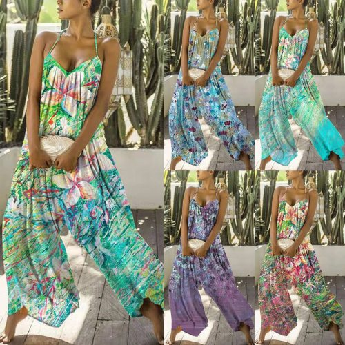 2021 Rompers Women Jumpsuit Sexy Strapless Casual Loose Boho Playsuits Wide Leg Pants Female Summer Sleeveless Backless Overalls