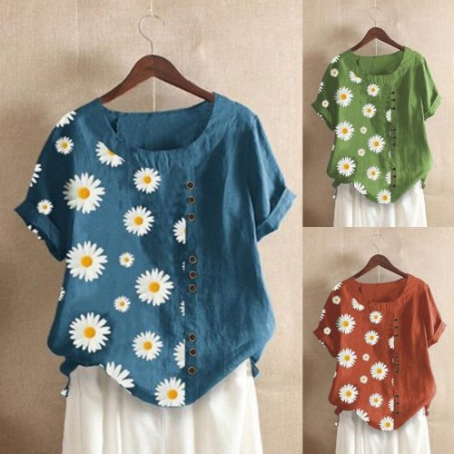 Summer women's flax shirt daisy Floral print O-Neck Short Sleeve women blouses 5xl plus size blouse loose vintage tops