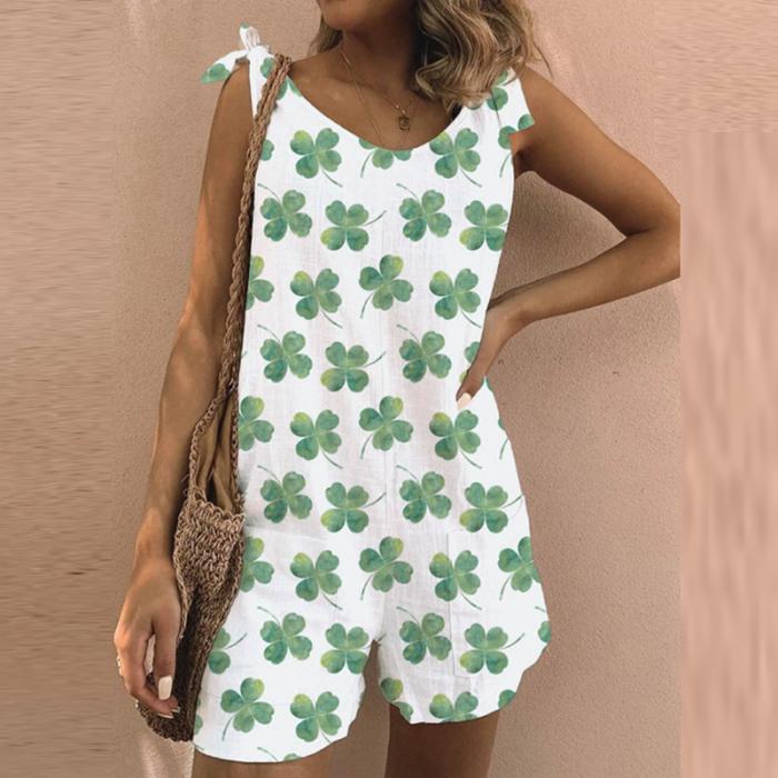 2021 Summer V Neck Dot Print Short Jumpsuits Women Elegant Off Shoulder Strap Knotted Romper Lady Fashion Casual Loose Playsuits