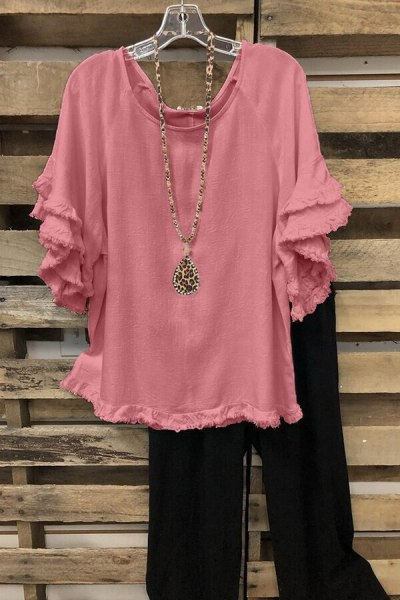 2021 Summer New Women's Loose Large Size Ruffle Sleeve T-shirt Top