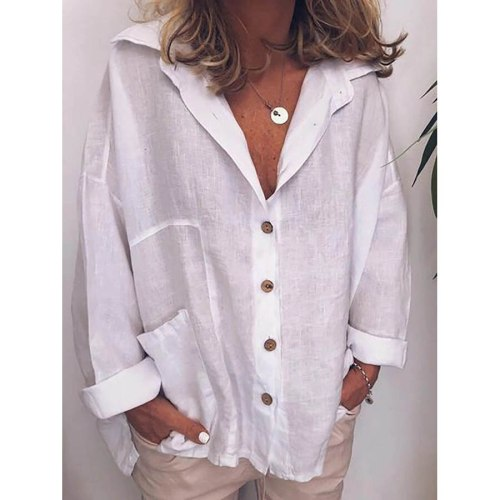 DIOROBBEN Autumn Long Sleeve Cotton Linen Shirts Plus Size Fashion Vintage Shirts Casual tops turn-down collar women's blouses