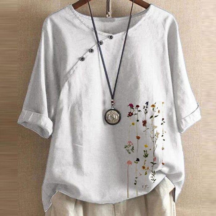 Autumn Casual Three-Quarter Sleeve Shirt 2021 Women Elegant O-Neck Cotton Linen Blouse Plus Size Button Print Pullover Top Blusa