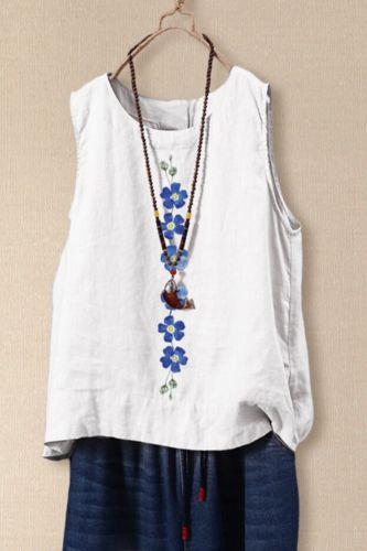 Vintage Tanks Tops Women Summer Sleeveless Blouse Floral Printed Shirt Casual Cotton Linen Blusas Female Loose Vests Kimono 2020