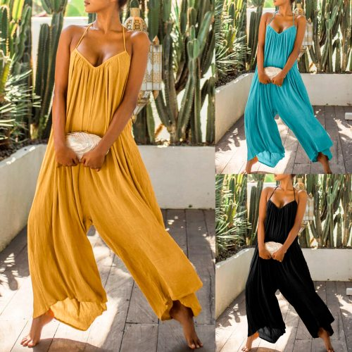 Boho Rompers Women Jumpsuits Summer Sleeveless Backless Playsuits Sexy Wide Leg Pants Female Casual Loose Overalls Plus Size