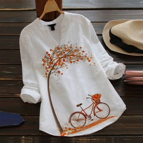 Blouse Women Casual Flower Print Long Sleeve V-Neck Blouse Button Shirt Top Blouse