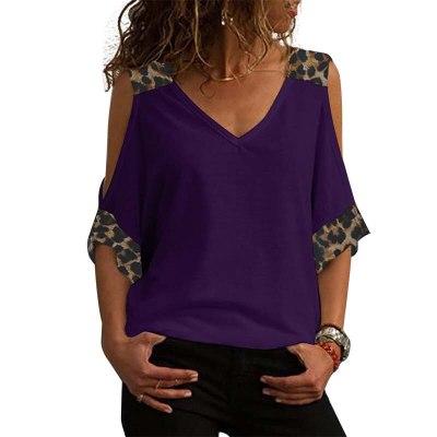 Vintage T Shirt Women 2021 Summer Leopard Print V-neck 3/4 Sleeve Plus Size T-shirt Off Shoulder Tops Casual Tee Shirt Femme