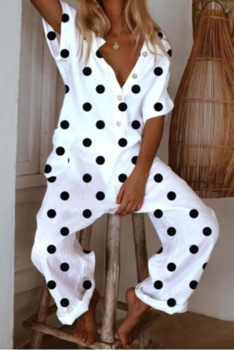 2021 Summer Dot Print Jumpsuits Casual Women Short Sleeve V neck Loose Romper Elegant Female Button Design Jumpsuit Streetwear