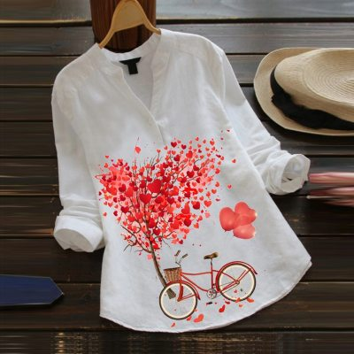Blouse Women Casual Flower Print Long Sleeve V-Neck Blouse Button Shirt Top Blouse