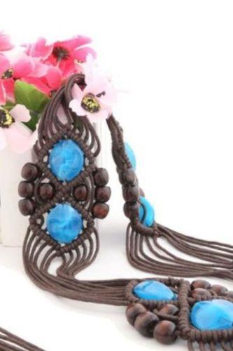 Women's Offwhite Wait Belt Bohemian Handmade Braided Belts Exquisite Turquoise Luxury Female Waistbelts Dress Decoration