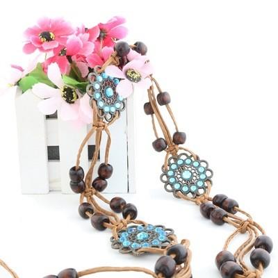 Korean Retro Bohemian Ladies Braided Waist Rope Metal Sun Flower Rhinestone Inlaid Wood Bead Decoration Waist Chain