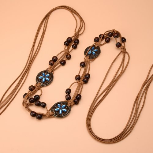 Women's Vintage Bohemian Wax Beads Retro Ethnic Style Turquoise Elastic Adjustable Belt Dance Waist Chain