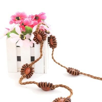 New Korean Retro Bohemian Ladies Waist Rope Bead String Decoration Fashion Wild Knotted Woven Waist Chain Belts