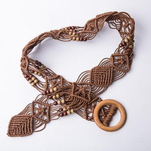 Braid Waist Belt with Bead for Women Dress Wood Buckle Funky Stylish Trendy Strap