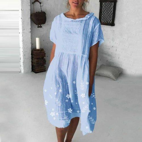 2021 Summer New Women'S Short Sleeve Skirt Medium Length Embroidered Dress