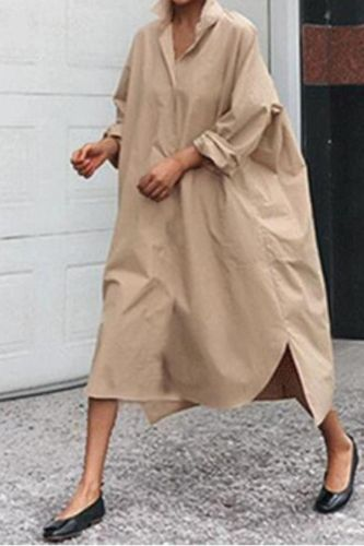 2021 New Product Lapel Solid Color Casual Loose Shirt Dress