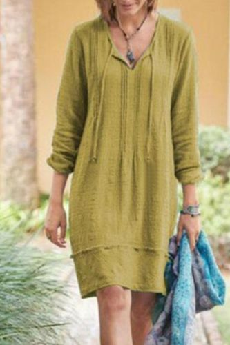 Long Sleeve Dress Women Fall Fashion New Plus Size V-Neck Lace Up Solid A-Line Knee-Length Womens Dresses