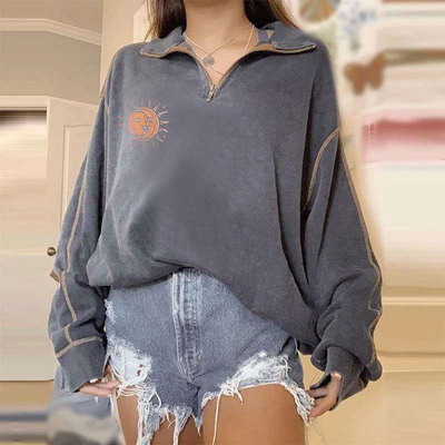 New Autumn Winter Letter Print Pullovers Shirt Tops Casual Long Sleeve Solids Loose Blouse Women Zip Lapel Blouse Sweatshirt