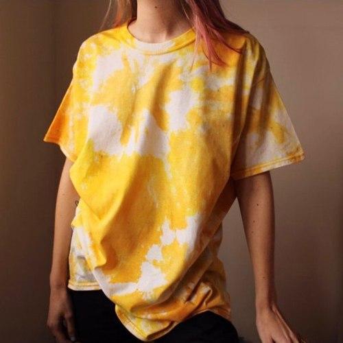 Yellow Tie Dye Print Oversized T Shirts Women 2021 Summer Tee Shirt Femme Casual Loose Short Sleeve Plus Size Tops T-shirts