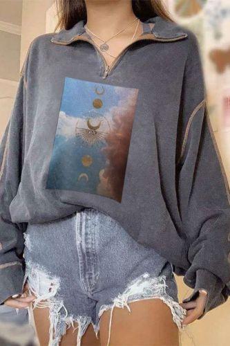 2021 New Women'S Casual Lapel Zipper Loose Print Pullover Hoodies Top
