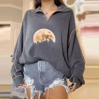 Gray Zipper Lapel Pullover Vintage Oversized Sweatshirt Women Autumn New Design Simple Long Sleeve Casual Streetwear Clothes