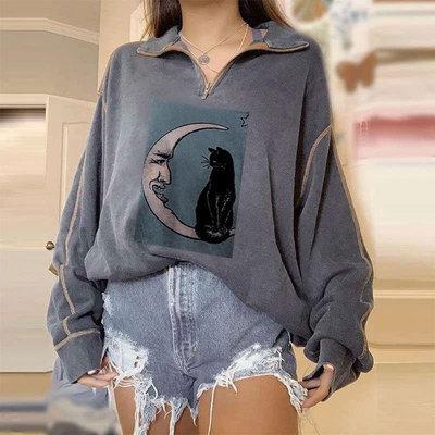 2021 New Women'S Casual Lapel Zipper Moon Cat Print Sweater Top