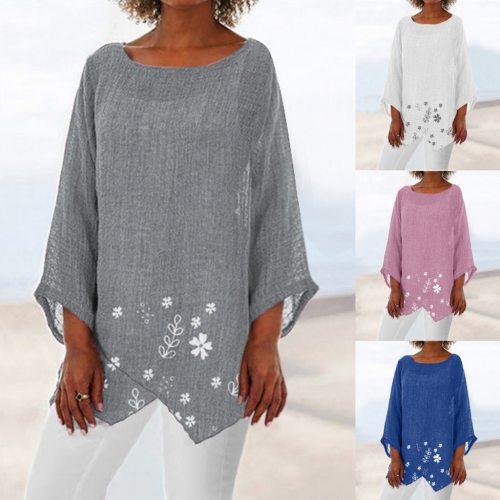 Women's Summer Long Sleeve Printed Round Collar Loose Cotton Linen Casual T-Shirt Tops рубашки женские женские футболки#2