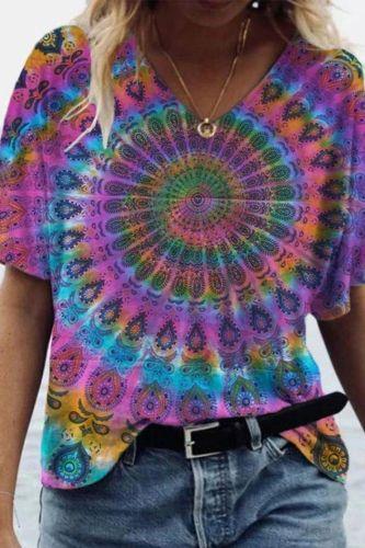 Vintage Tie Dye Print Woman Tshirts Loose Casual Streetwear Harajuku T Shirt V-neck Short Sleeve Plus Fashion Tops 2021 Summer