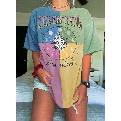Hip Hop Colourblock Geometric Print Letter Graphic T Shirts Women Vintage Short Sleeve Loose Casual Fashion Top Summer Plus Size