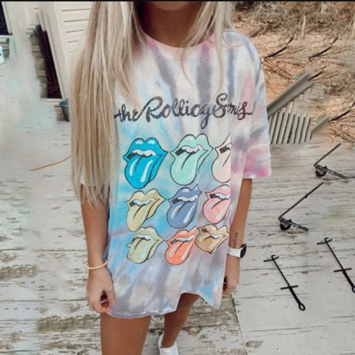 4XL Sexy Lip Funny Fashion Shirt Summer Loose O-Neck Colorful Graphic T Shirt Women Tops Loose O-neck Tie Dye Tees Kiss Tshirts