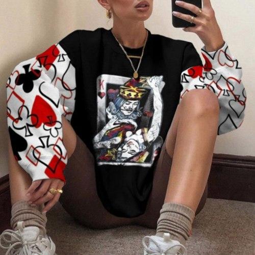 Women Autumn Casual Eye Print Hoodie Sweatshirt Harajuku Loose O Neck Pullover Top Female Patchwork Retro Long Sleeve Sweatshirt