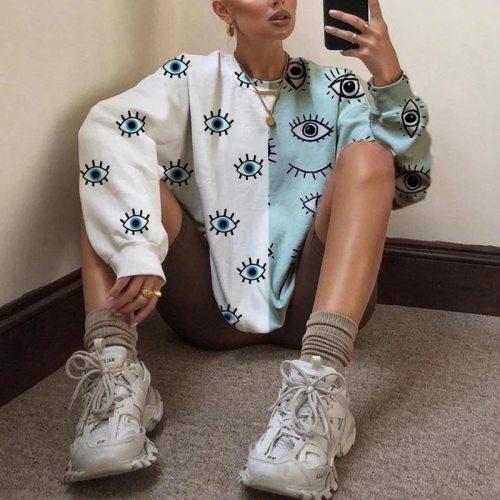 Eye Print White Blue Stitching Pullovers Oversized Sweatshirt Women Long Sleeve Streetwear USA England Style BF 2021 Spring New