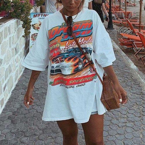 Vintage White Letter Car Print Graphic T Shirts Women Crewneck Short Sleeve Loose Casual Girls 2021 Spring Plus Size Streetwear