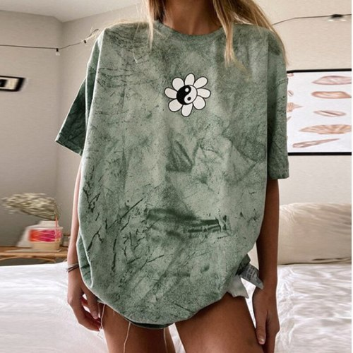 Vintage Oversized Graphic Tee for Women Loose Casual T Shirt Summer 2021 O Neck Short Sleeve New Fashion Tops Plus Size Clothes