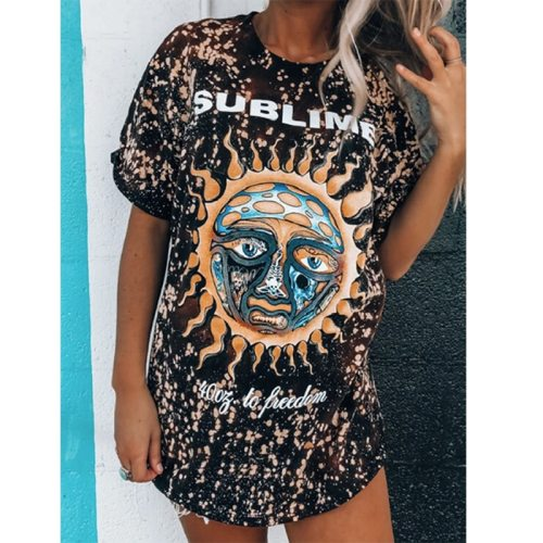 Women's Versatile New Fashion Casual Round Neck Short Sleeves Printed Tie-Dyed Pullover T-Shirts