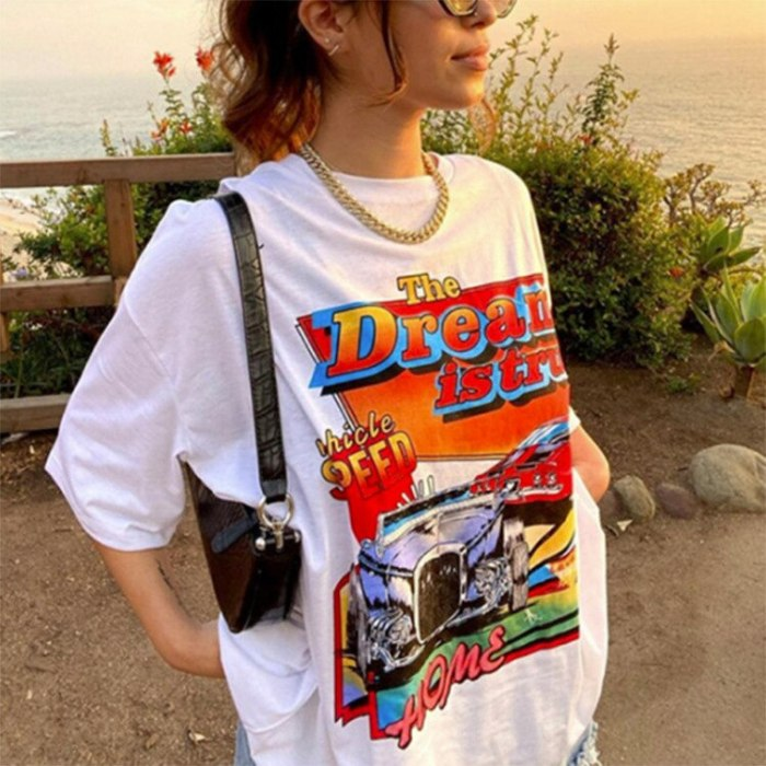 Gray Letter Print Crewneck Short Sleeve T Shirt for Women Loose Chic Design Vintage Harajuku Summer Plus Size Japanese Fashion