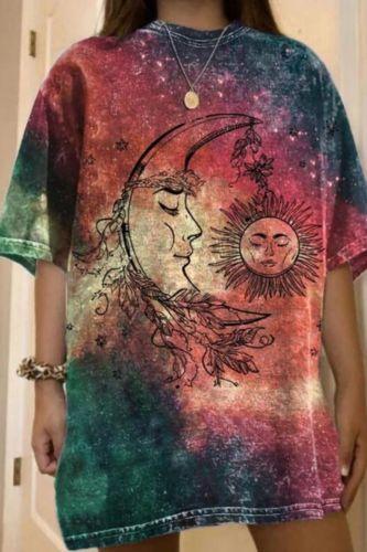 Tie Dye Moon Sun Print Shirts Woman Summer Cute Short Sleeve Graphic Tee Oversized Harajuku Casual Loose T-shirt Fashion Top New