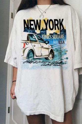 White Letters Printing American Casual Wear Oversized T Shirt for Girls 2021 Summer Woman Tshirts New Fashion Streetwear Loose