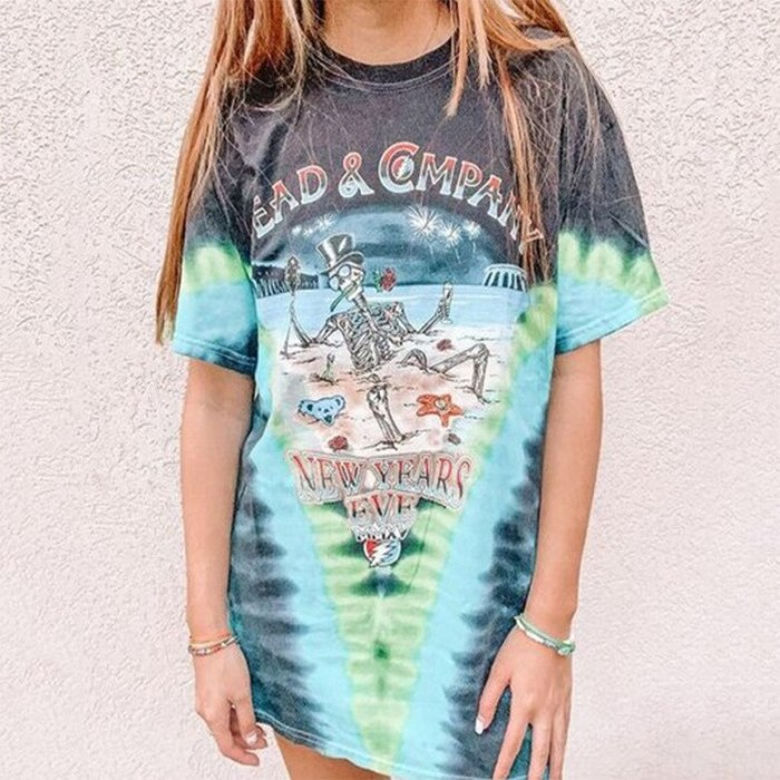 Tie Dye Letter Print Vintage Stylish Oversized T Shirt for Women O Neck Loose Short Sleeve Chic High Street Woman Tshirts Summer