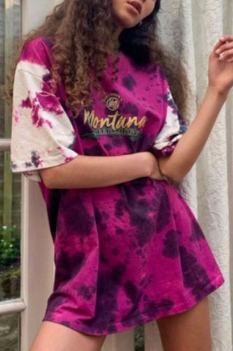Red Tie Dye Letter Print Vintage O Neck Oversized T Shirt Women New Short Sleeve Casual T Shirts Teens 2021 Summer Plus Size tops